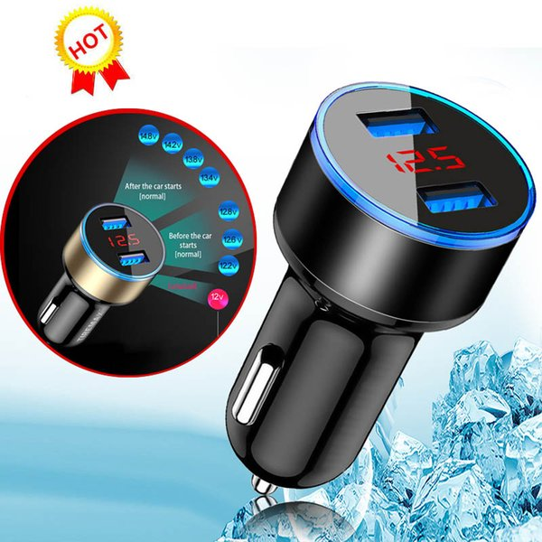 High Quality Dual USB Car Charger Adapter 3.1A Digital LED Voltage/Current Display Auto Vehicle Metal Charger For Smart Phone/Tablet