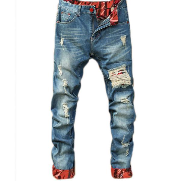 Mens Casual Düz Jeans Retro İnce Skinny Jeans Moda Tasarımcısı Erkekler Hip Hop Açık Mavi Denim Pantolon Ripped