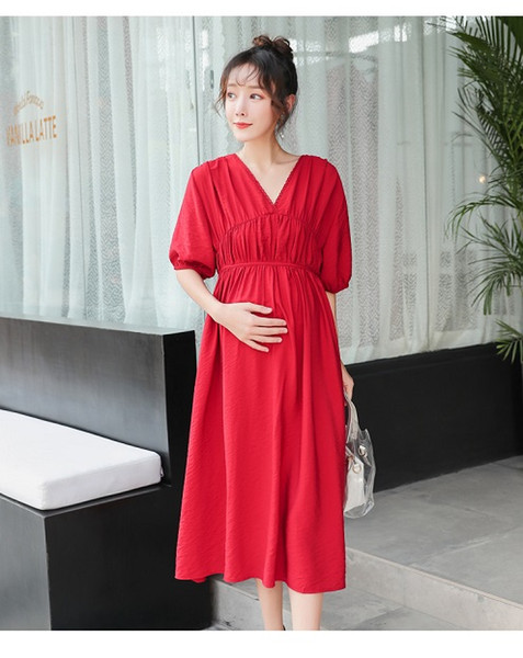 Fashion pregnant women dress spring and autumn fashion new models loose long chiffon maternity dress summer long skirt