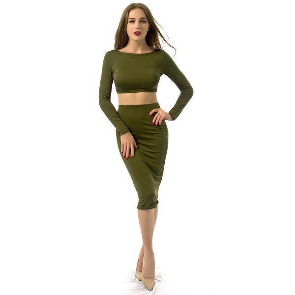 Длинные рукава спинки тонкий двухсекционный платье женская сексуальная повязка сплошная одежда