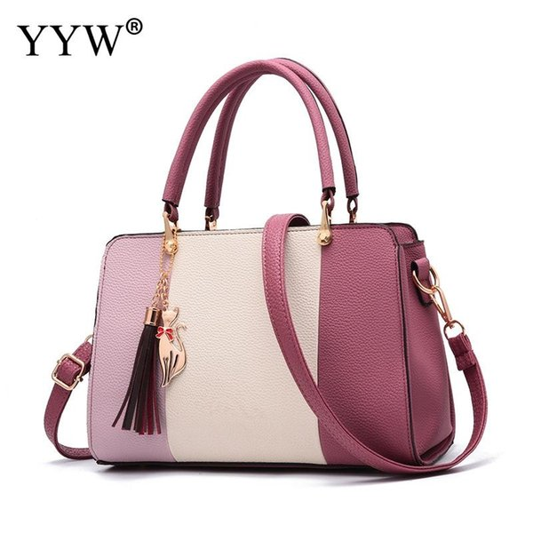 Leather Tassels Handbag For Women Jewelry Large Capacity Top Handle Hand Bags Shoulder Totes Bags With Hanging Ornament 2018 New #226968
