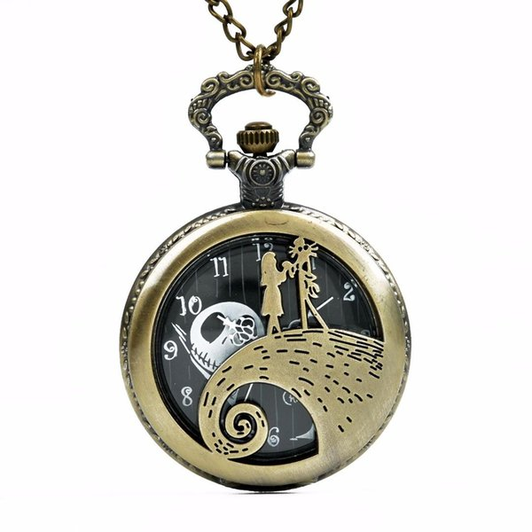Couple new ghost head literal wave couple gift fashion quartz pocket watch