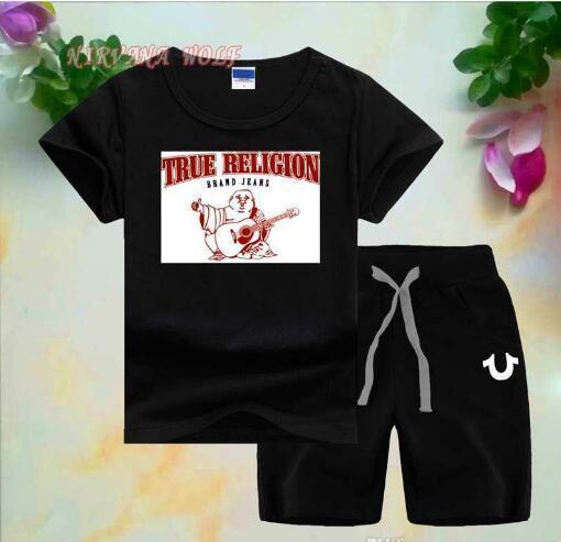 Guitar Buddha Little Kids Sets 1-7T Childrens O-neck T-shirt Short Pants 2Pcs/sets Boys Girls Pure Cotton Printing Logo Children Summer Sets