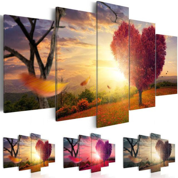 2019 5 Panesl Sunset Red Heart Tree Flowers Art Picture Landscape Home Decor on Canvas Modern Wall Painting(NO Frame)