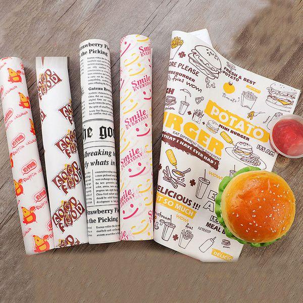 100 piezas de papel de cera a prueba de aceite para papel de envoltura de alimentos Sándwich de pan hamburguesa con papas fritas Herramientas para hornear Herramientas de comida rápida