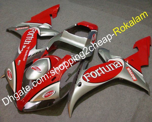 For Yamaha R1 Fairings Kit 2002 2003 YZF-R1 02 03 YZFR1 YZF R1 Fortuna ABS Body Motorbike Fairing Parts Red Silver (Injection molding)