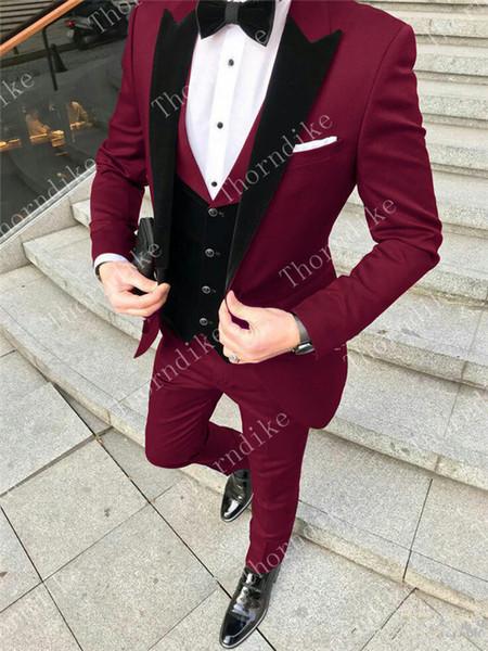 Thorndike One Button Burgundy Groom Tuxedos Groomsmen Peak Lapel Men Wedding Tuxedos Dinner Prom Suits (Jacket+Pants+Vest+Tie)