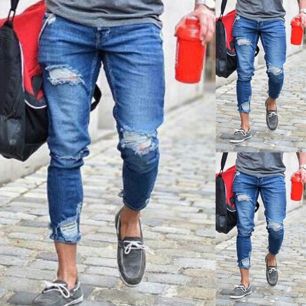New Arrived Men Biker Jeans Denim Ripped Holes Mid Waist Slim Skinny Hip Hop Casual Jeans Men Clothes Plus Size S-3XL