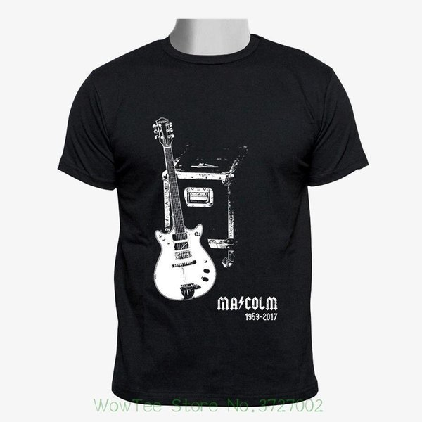 Malcolm Young - Rare Guitar Tribute Custom Men Black Tshirt Size S - 2xl Print T-shirt Summer Casual