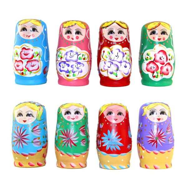5 adet / takım Ahşap Rus Bebek Set Ahşap Yuvalama Babushka Matryoshka El Boya Bebekler Bebek çocuk oyuncakları Kızlar için