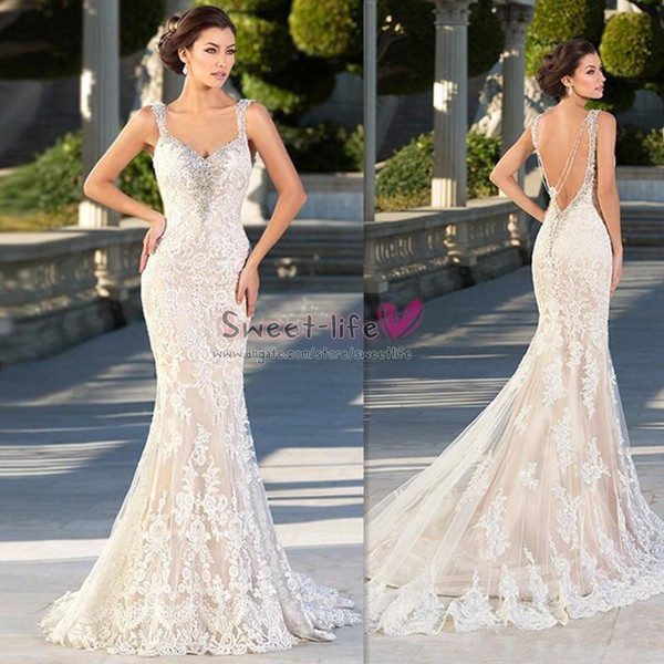 Zuhair Murad Wedding Dresses 2019 Mermaid Lace Crystal Sweetheart Bridal Gowns Backless Sexy Beaded Gothic Trumpet Bride Party Dress