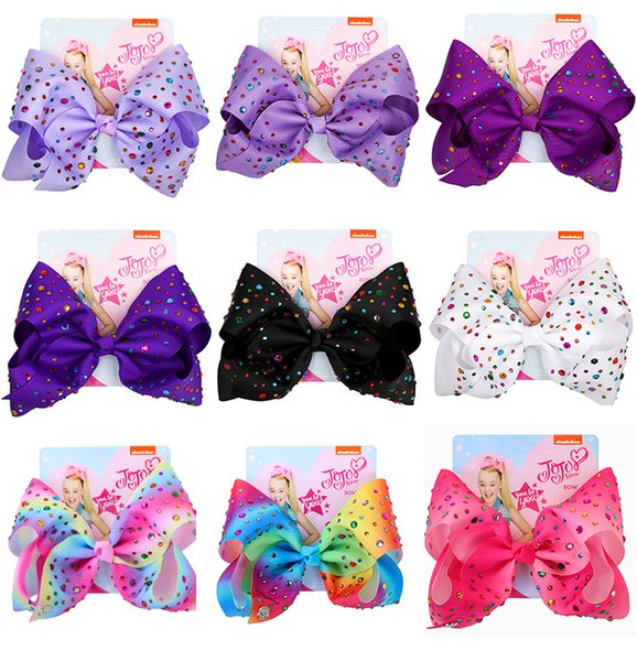 25 Colors Jojo Bows With Clip JOJO Siwa Hair Bows hair accessories for girls 8 inch Large Rainbow Hair Bow DHL SS110