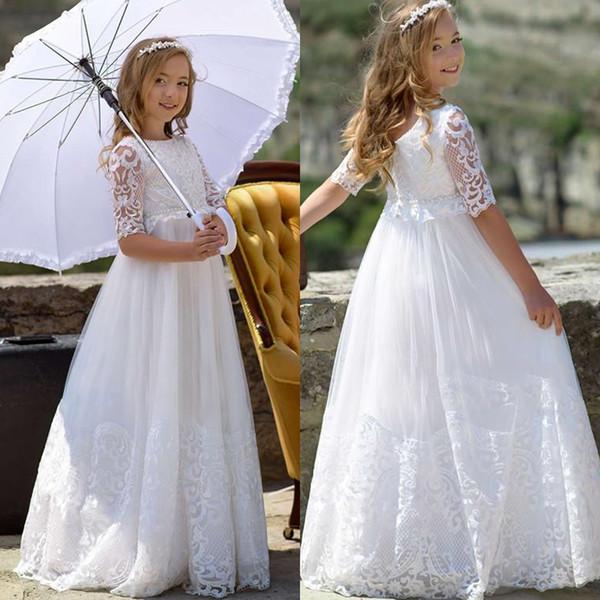 Encaje blanco puffy vestidos de las niñas de flores 2019 una línea de medias mangas Sheer cuello niñas fiesta de cumpleaños vestido de primera comunión vestidos del desfile