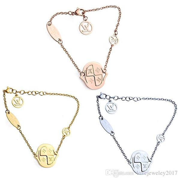 Titanium Steel Round plate charm bracelets with Four Leaf Flower design for women Silver Rose Gold rhombus Luxury brand Clover bracelet
