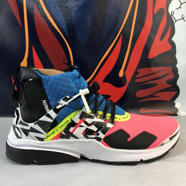 2019 Nike air ACRONYM X Presto Mid V2 Hombres Zapatillas de running Racer Pink Cool Grey Darts Diseñador de calle Zapatillas de camuflaje Zapatos de graffiti