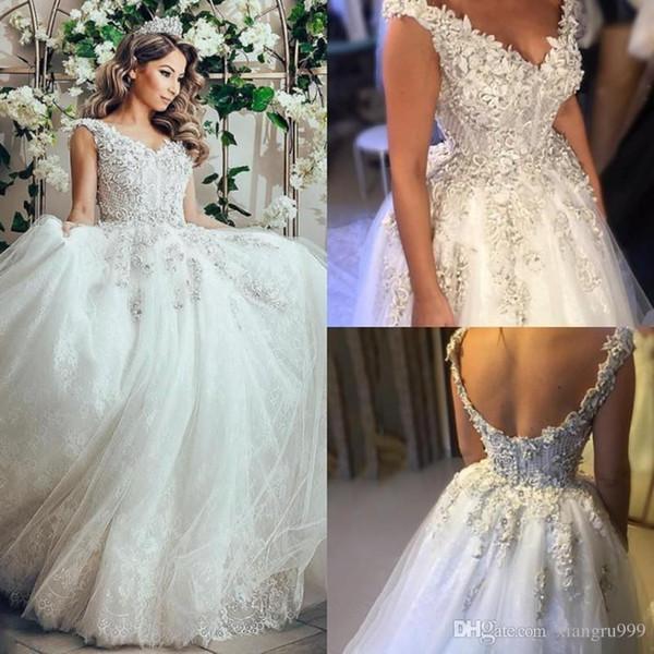 Урожай бальное платье с кружевными свадебными платьями 3D цветочные аппликации с открытой спиной свадебные платья Sweep Train на заказ свадебное платье