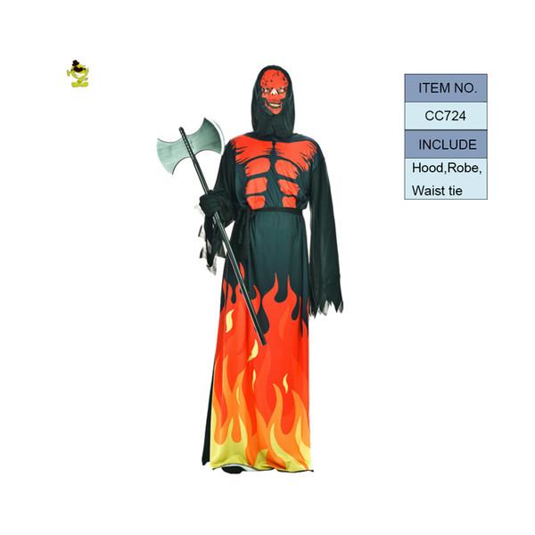 Хэллоуин Огонь Дьявол Костюмы для Мужчин Хэллоуин Вечеринка Дьявол ролевая игра Необычные платья Страшные костюмы Карнавальная вечеринка