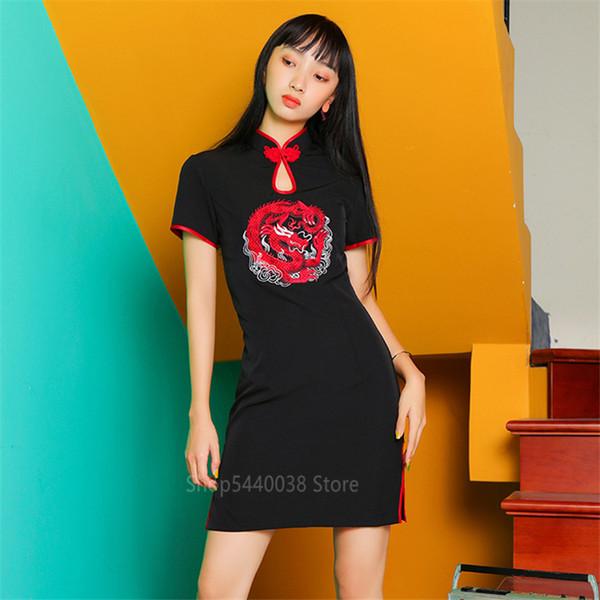 Ricamo Cheongsam vestito cinese per le donne drago partito Collare Qipao Vintage Streetwear manica corta Vestiti sexy giornaliera Robe