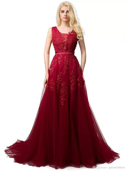 2019 Real Burgundy Prom Dresses V Neck Sleeveless A Line Floor Length Appliques Lace With Pearl Soft Tulle Evening Graduation Dresses