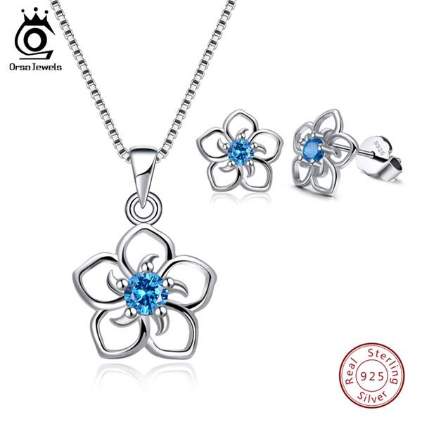 wholesale Genuine 925 Sterling Silver Jewelry Set For Women Hollowed Flower Shape AAA Clear Purple Blue Red CZ Jewelry SS22