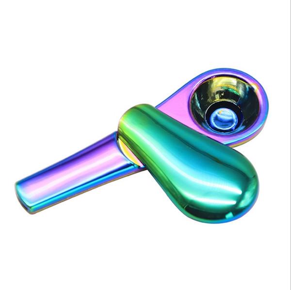Tuyaux en métal Rainbow Spoon Pipe Pipe à tabac magnétique portable avec paquet de boîte cadeau Creative Smoking Accessoires Livraison gratuite YW2284