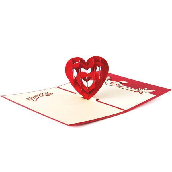 Fashion 3D Pop Up Foldable Greeting Cards Creative Handmade Heart Shape Paper Cuts Valentines Teachers Thank You Mother's Day