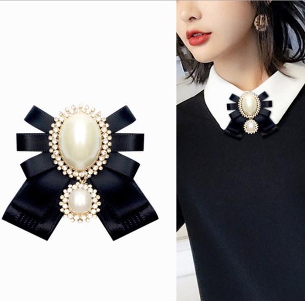 Moda Pearl Bow Broches E Gravata borboleta Feminino Retro Pinos de Strass Para Camisa Designer De Luxo 6 Cores Imitação de Pêra
