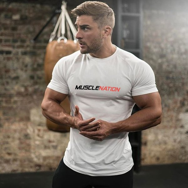 HOT 2019 Fitness Brothers New Loose Men's Pure Cotton Sports Short-sleeved Exercise Hurdle Running Printed Muscle T-shirt letter popular GYM