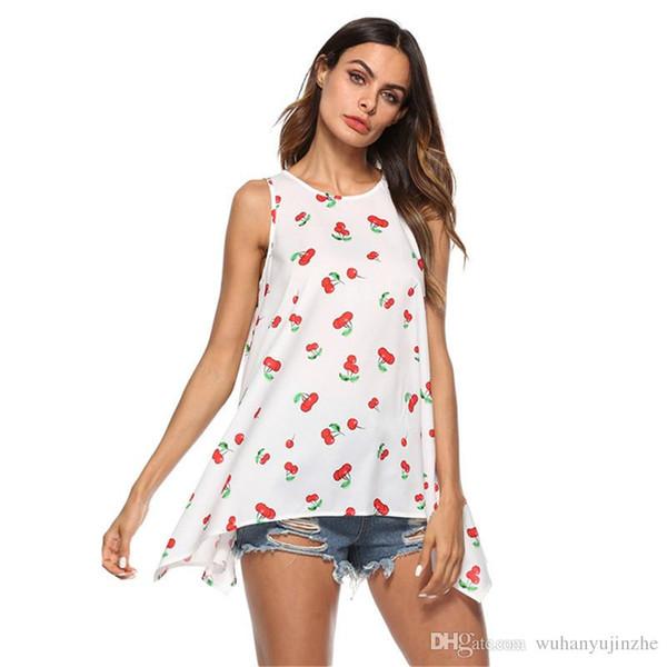 dd1ef59a989 Женская летняя симпатичная футболка без рукавов женская блузка красная  вишня мода о-образным вырезом с