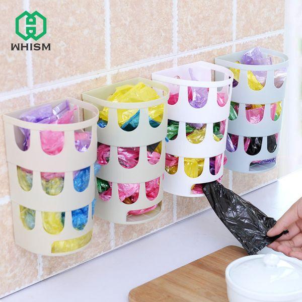 Commercio all'ingrosso di sacchetto della drogheria della drogheria della scatola di immagazzinaggio del sacchetto di plastica a parete Recycler Shopping Bag Dispenser Storage Kitchen