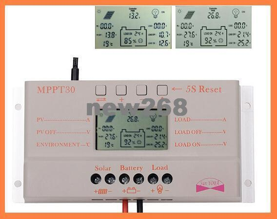 Freeshipping 30A MPPT LCD Solar Charge Controller 12V/24V 380W/760W Solar Panel Regulator Auto Work,Hot Sale
