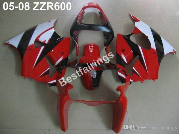 Injection molding fairing kit for Kawasaki ZZR600 05 06 07 08 red white fairings set ZZR 600 2005-2008 ZV05