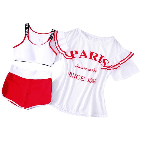 Teenager girls swimsuit bikini set two-piece swimwear with covers up white children girls sport swimming wear bathing suits 2018