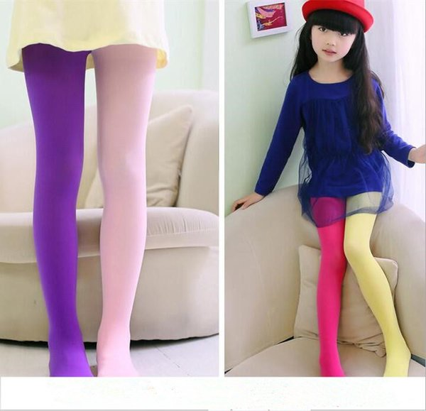 Couleur bonbon collants mélangés pour les filles patchwork bébé fille pantalon stretch pantalon skinny enfants collants de danse collants Bas 3-12Y CFYZ211