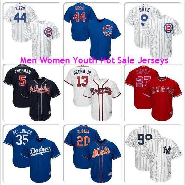 Men Womens Youth Aaron Judge Ronald Acuna Jr Freddie Freeman Javier Baez Anthony Rizzo Mike Trout Pete Alonso Cubs Mets baseball jerseys red