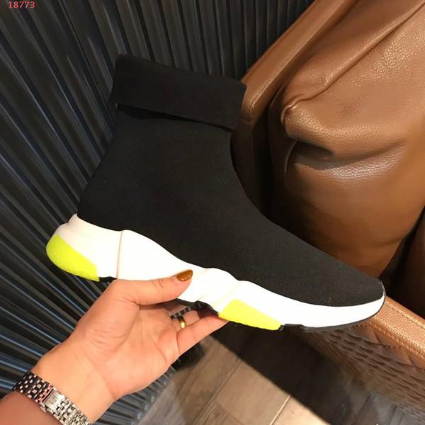 2019 neue Designer Männer Frauen Speed Trainer Bequeme Socken Schuhe Schwarz Weiß Rot Glitter Flache Mode Herren Freizeitschuhe
