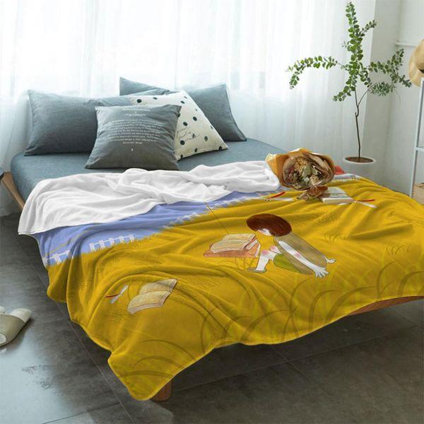 Illustration Golden Autumn Soft Fleece Throw Blanket Fleece Super Warm Soft Throw on Sofa/Bed