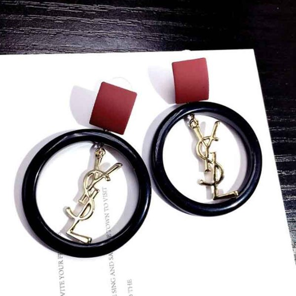 Eur Fashion Large Circle Dangle Drop Earrings With Brand Letters Earring 925 Silver Needle Earring Women Wedding Jewelry Accessories