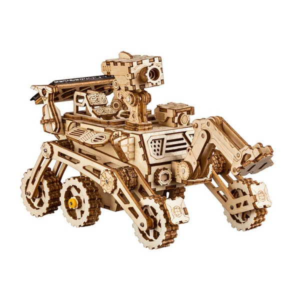 Robotime Home Decor Figurine Diy Wooden Miniature Curiosity Rover Solar Energy Decoration Accessories Gifts For Children Ls402 J190713