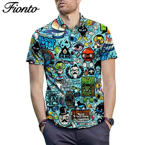 Short Sleeve Big Size Shirt Summer Anime Cartoon Print Short Sleeve Shirt Summer Loose Type Men's Shirts ZF9685