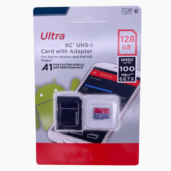 100 real capacity 32gb 64gb 128gb memory card evo cla 10 a1 a3 micro tf card with retail package for phone camera hipping