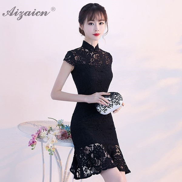 2019 Fashion Black Lace Cheongsam China Long Mermaid Dresses Sexy Qi Pao Women Chinese Dress Qipao Chinoise Evening Gown
