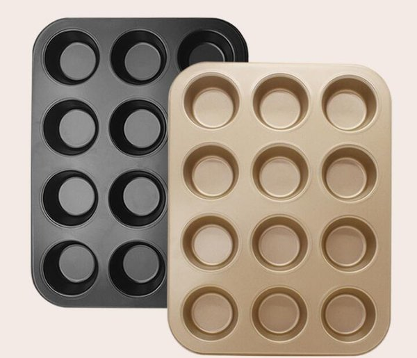 Non-Stick 12 Holes Muffin Cake Mold Baking Tray Heavy Carbon Steel Bake Pan Champagne Pudding Cake Mold Metal Top Quality Box Packing p