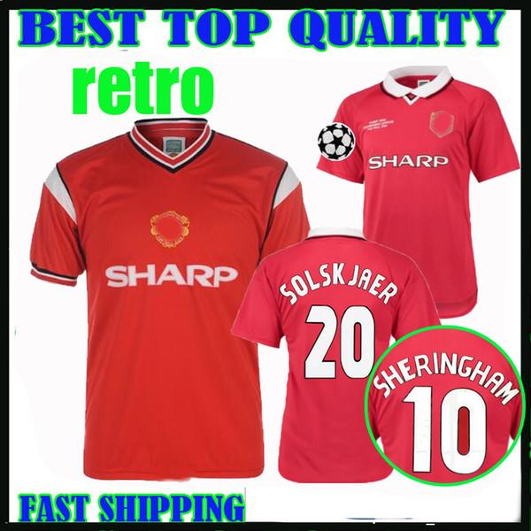 2019 1984 1985 1999 Manchester Retro Soccer Jerseys 84 85 86 99 00 Camp Nou Champions League Final United Home Beckham Solskjaer Sheringham Shirt From