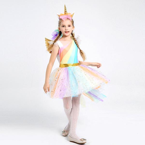 Kids Girls Rainbow Unicorn Costume For Girls Princess Halloween Carnival Birthday Party Dress Cosplay Costumes