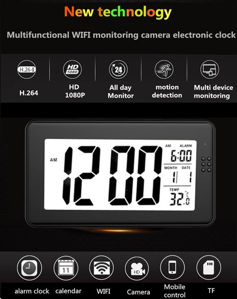 Wifi alarm clock camera with multifunctional integrated monitoting HD 1080P IR night vision clock Mini camera home security surveillance cam