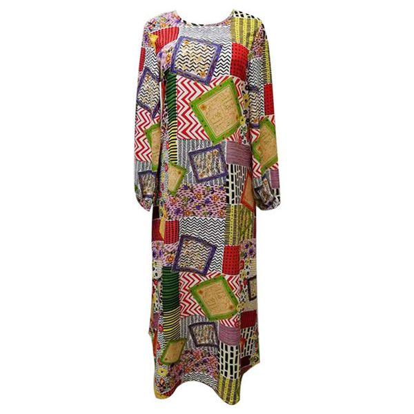 Kadın ilkbahar ve sonbahar baskılı uzun kollu artı boyutu elbiseler