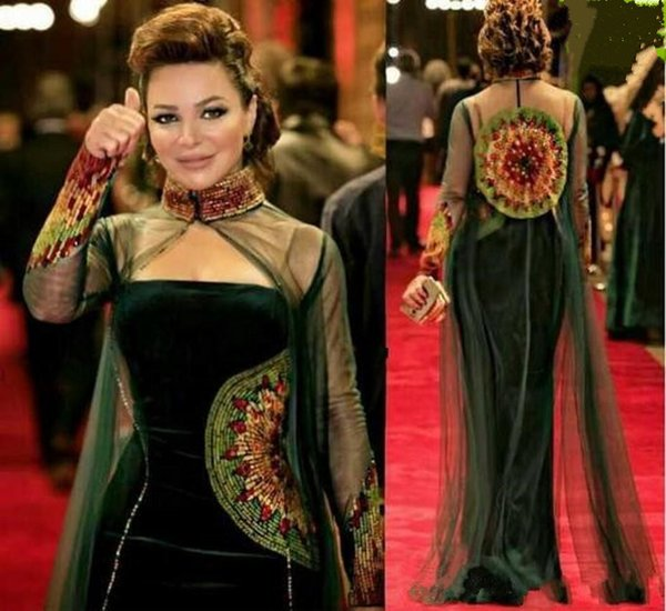 2019 Dark Green Celebrity Dresses Sheath Straspless Velvet Beaded Embroidery Evening Gowns with High Neck Tulle Beaded Illusion Long Cape