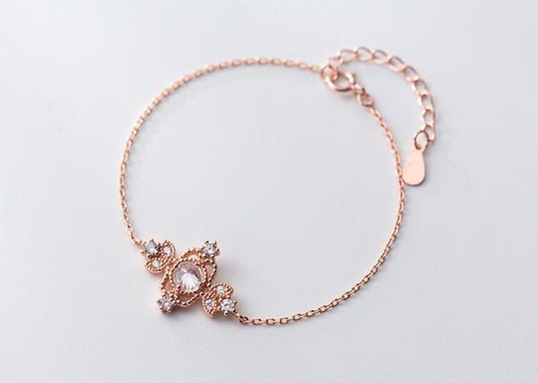 1pc fashion Slim Thin Authentic REAL. 925 Sterling Silver Zirconia Flower chain Bracelet GTLS783