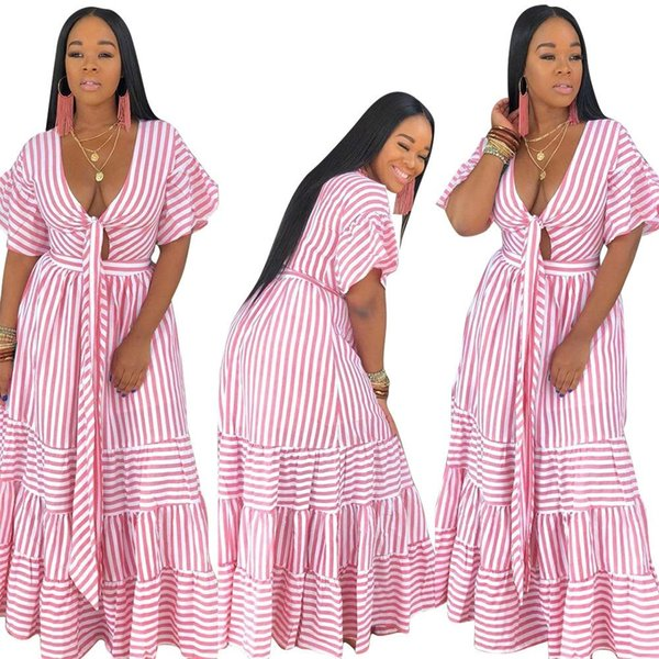 2019 women new summer striped tie up v-neck short sleeve Clothing splicing loose long dresses casual beach fashion maxi dresses